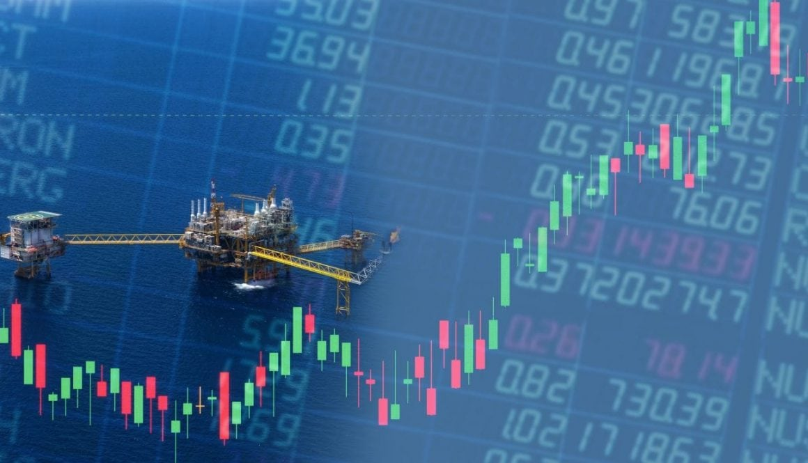 Double exposure aerial shot of offshore rig and trading graph with copy space.